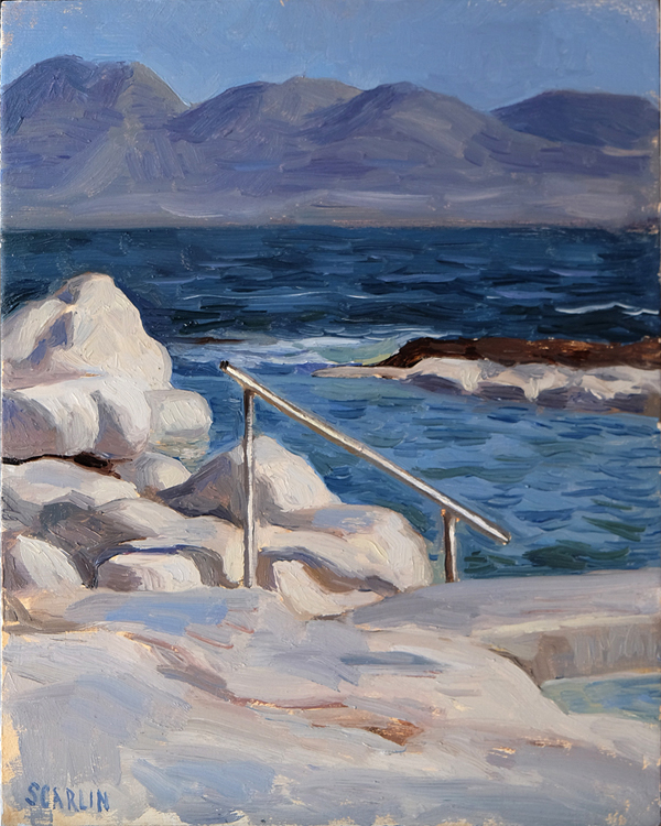 "Oliver Scarlin   ""Wooley's Pool, Kalk Bay""  Oil on Panel  25 x 20cm   R6200"