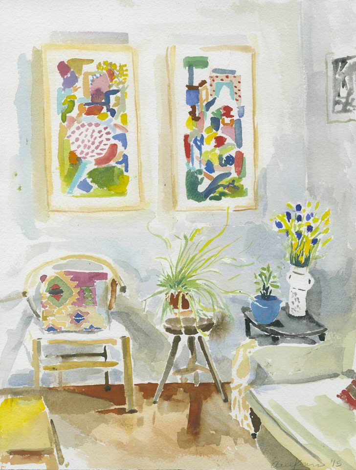 "Alexandra Karamallis ""Apartment"" Watercolour on Paper 41 x 31cm R8 350"