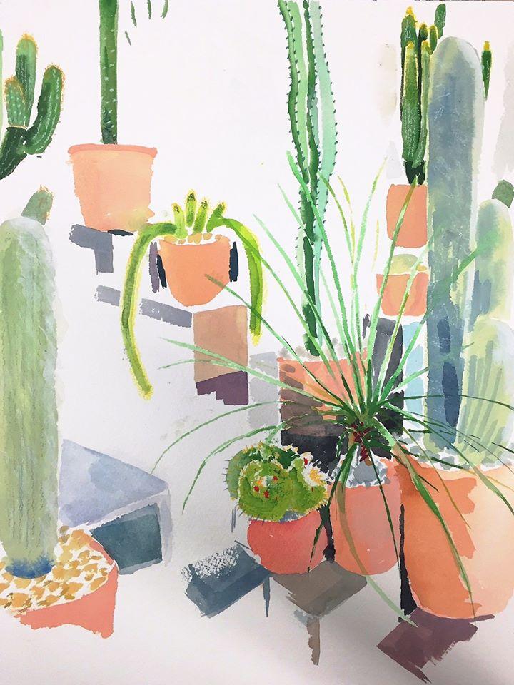 "Alexandra Karamallis ""Cactus Garden"" Watercolour on Paper 40,5 x 30,5cm R7 400"