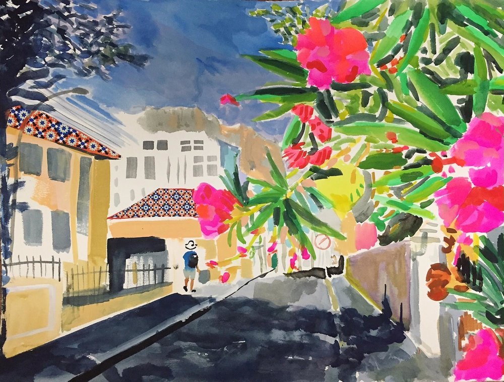 "Alexandra Karamallis ""Gardens"" Watercolor & Collage on Paper 61 x 46cm R12 300"