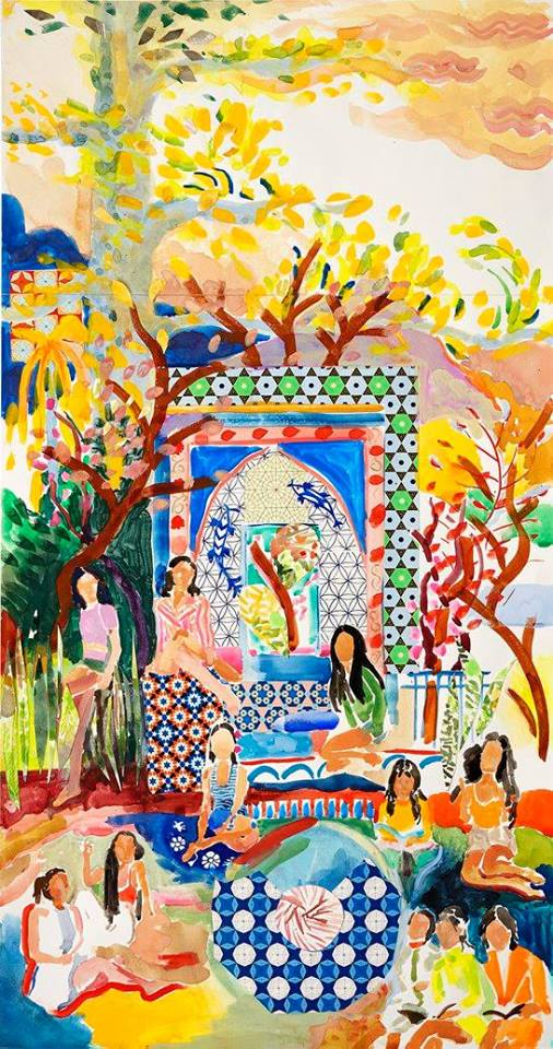 "Alexandra Karamallis ""Girls in Paradise"" Watercolor, Gouache & Collage on Paper 84,5 x 45cm R22 000"