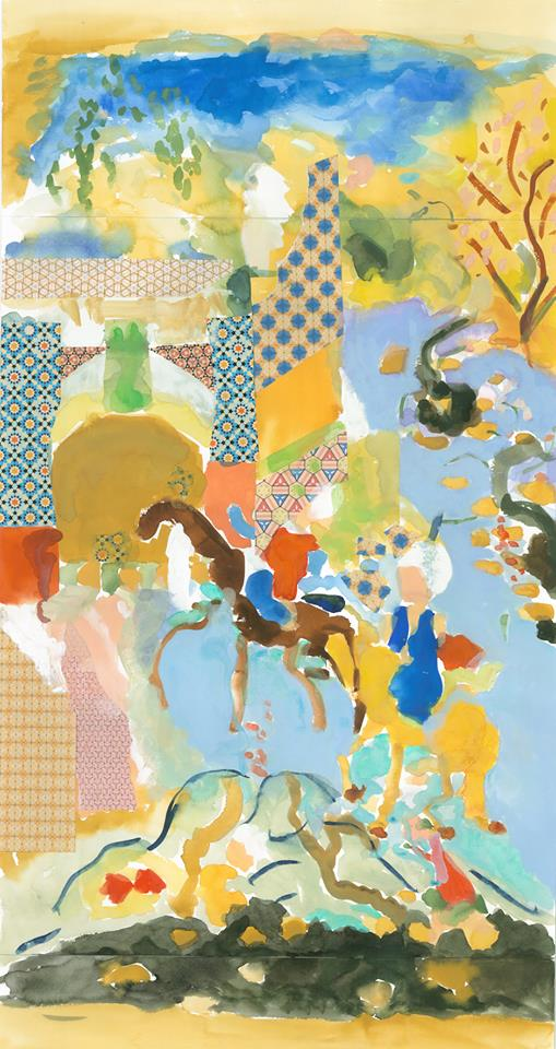 "Alexandra Karamallis ""Journey to Shiraz"" Watercolour, Gouache & Collage on Paper 80 x 46cm R19 200"