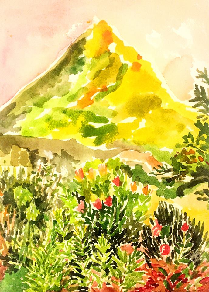 "Alexandra Karamallis ""Yellow Mountain"" Watercolour on Paper 31 x 21cm  R6 200"