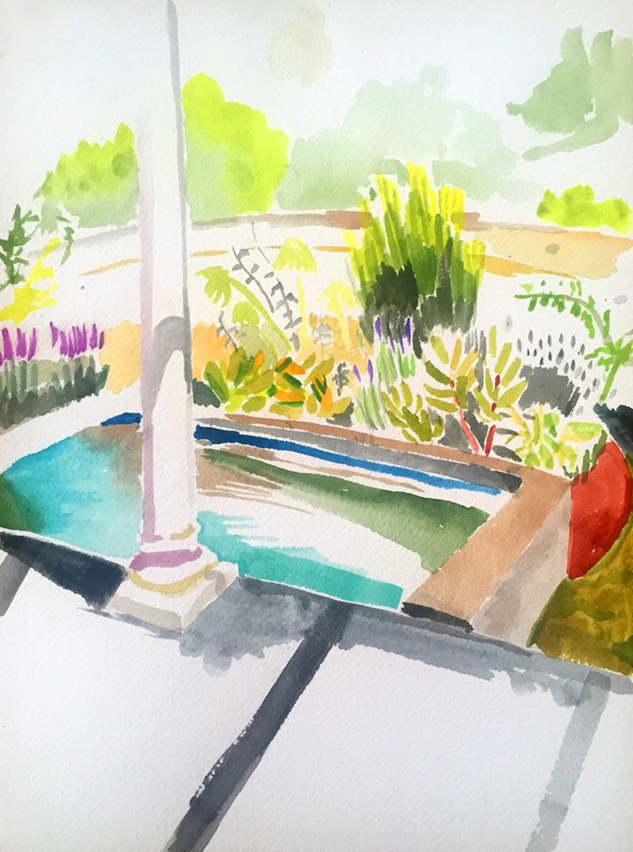 "Alexandra Karamallis ""The Pool"" Watercolour on Paper 31 x 21cm  R5 000"