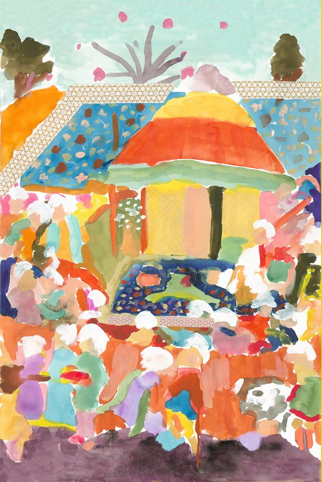 "Alexandra Karamallis ""Tent in Tehran"" Watercolor, Gouache & Collage on Paper 61 x 46cm  R18 200"