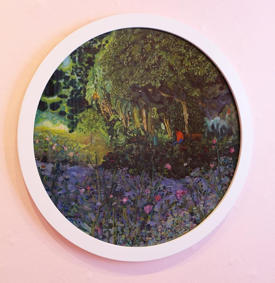 "Ludwich Olivier   ""Company"" Mixed Media on Glass 57cm diameter  R16 500"