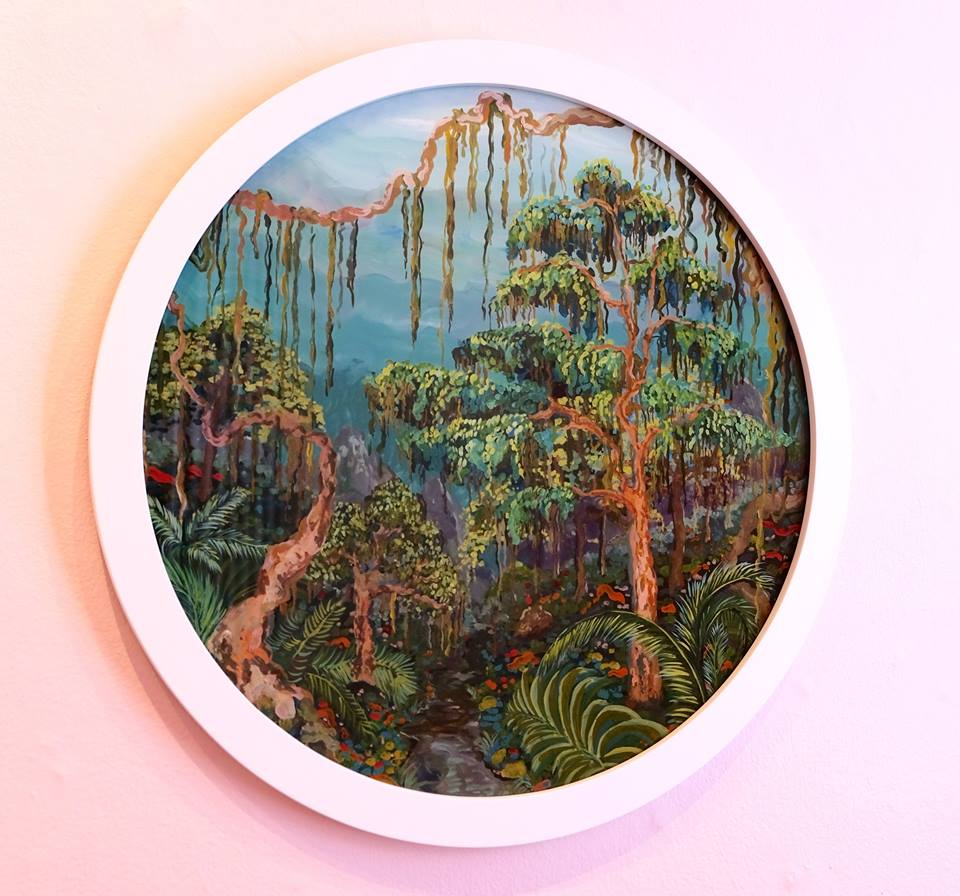 "Ludwich Olivier   ""Jungle Daze"" Mixed Media on Glass 57cm diameter  R16 500"