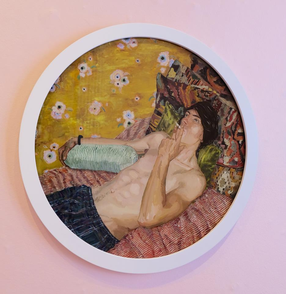 "Ludwich Olivier   ""Morning Glory"" Mixed Media on Glass 57cm diameter  R16 500"