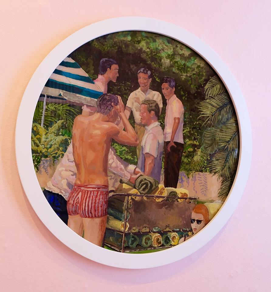 "Ludwich Olivier   ""Wet Dream"" Mixed Media on Glass 57cm diameter  R16 500"