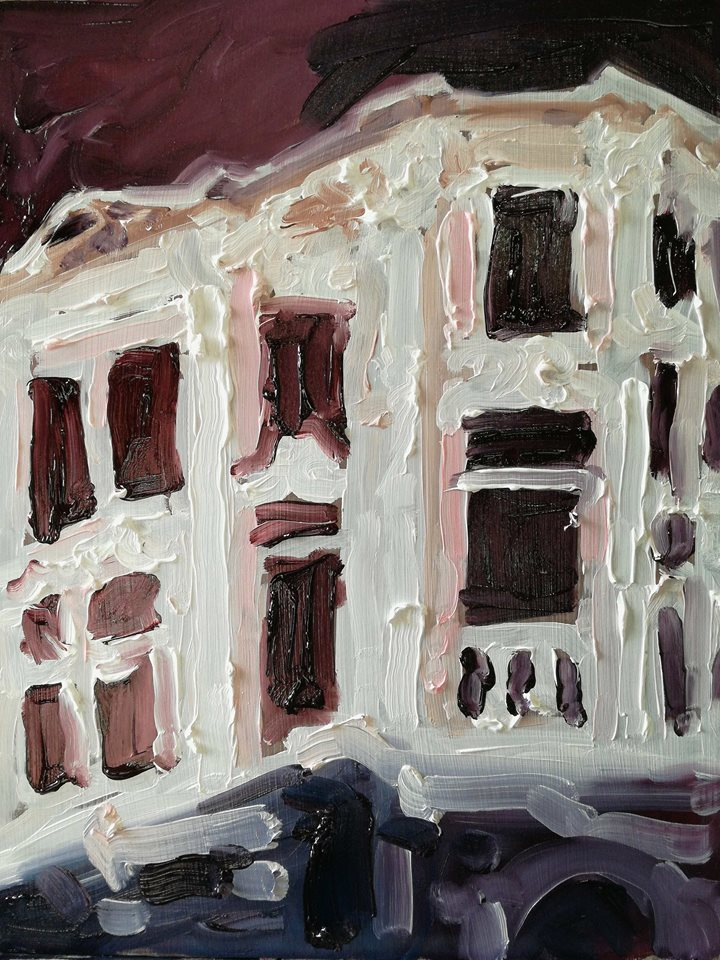 Michal Kruger  'My City Hates Me' Oil on Board 30 x 22 cm R3100
