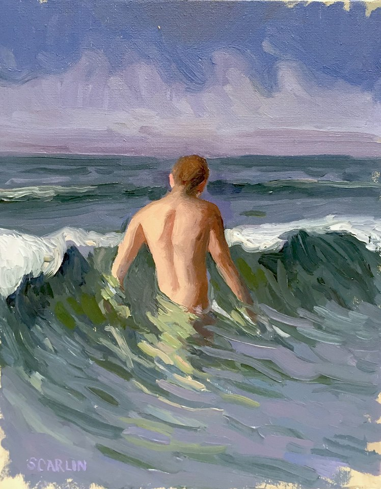 Oliver Scarlin 'Swimming with Harry II' Oil on Canvas 25 x 20cm R4200