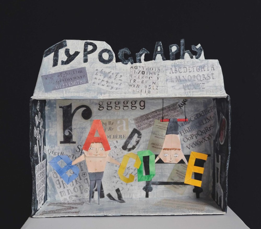 """Carol Mangiagalli & Niki Daly   """"The Amazing Typographical Brothers""""  Mixed Media: Papier-Mâché & Paper 24,4cm high R1 825"""
