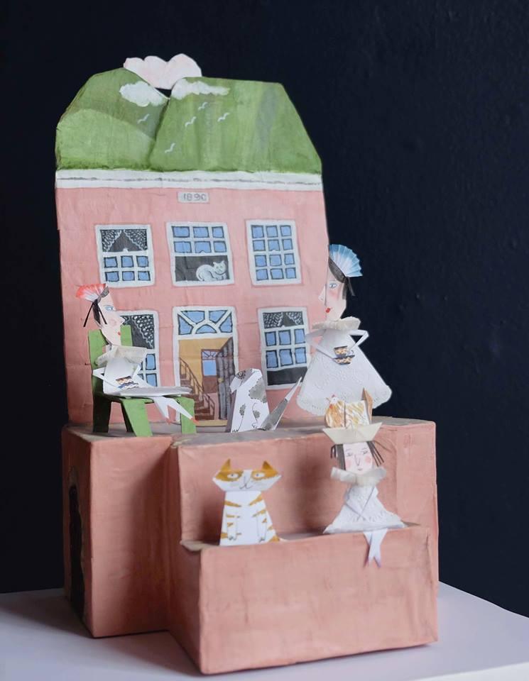 "Carol Mangiagalli & Niki Daly   ""The House of Three Sisters""  Mixed Media: Papier-Mâché & Paper 38cm high R2 500"