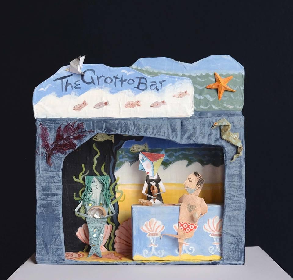 "Carol Mangiagalli & Niki Daly   ""The Grotto Bar""  Mixed Media: Papier-Mâché & Paper 34,8cm high R1 900"