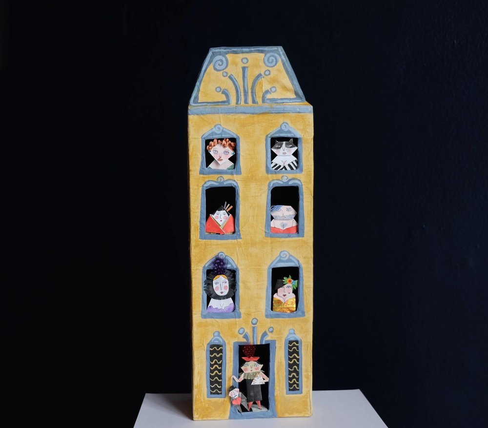 "Carol Mangiagalli & Niki Daly   ""The House of Ill Repute""  Mixed Media: Papier-Mâché & Paper 42,5cm high R2 500"