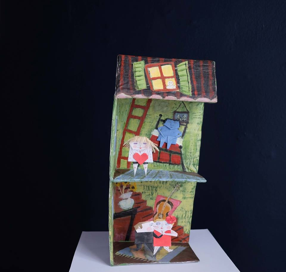 """Carol Mangiagalli & Niki Daly   """"The House of Love Lost and Love Found""""  Mixed Media: Papier-Mâché & Paper 36,5cm high R1 900"""