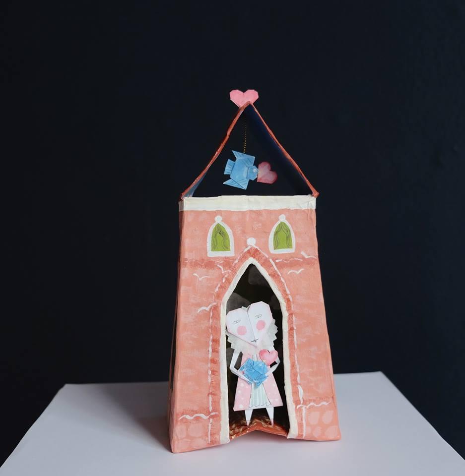 "Carol Mangiagalli & Niki Daly   ""The Little Chapel of Love""  Mixed Media: Papier-Mâché & Paper 24cm high R1 645"