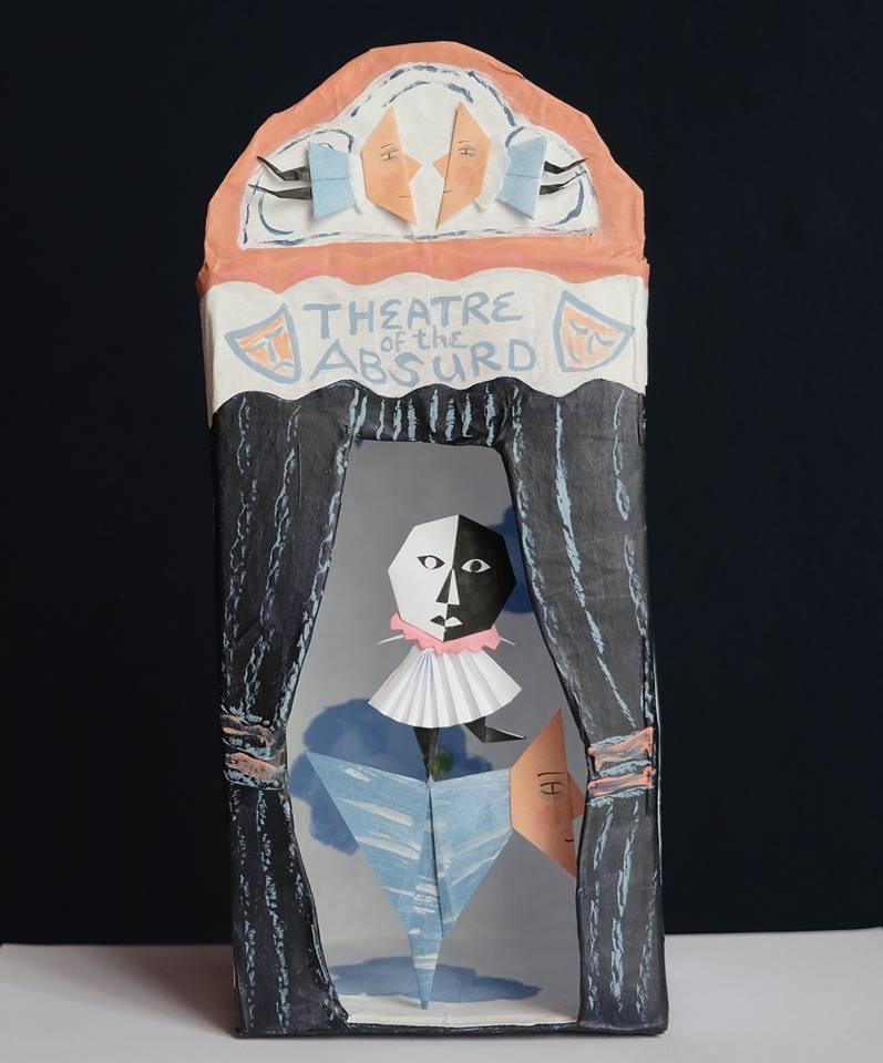 "Carol Mangiagalli & Niki Daly   ""The Theatre of the Absurd""  Mixed Media: Papier-Mâché & Paper 26,4cm high R1 750"