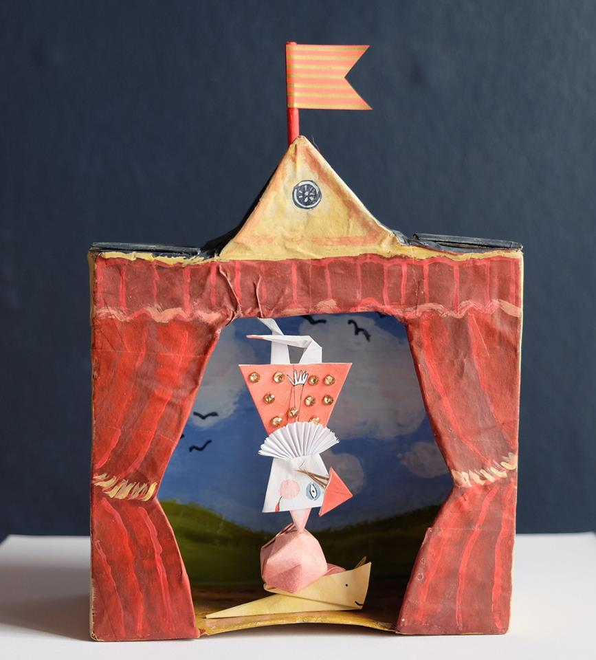 "Carol Mangiagalli & Niki Daly   ""The Theatre of Little Tricks""  Mixed Media: Papier-Mâché & Paper 21,8cm high R1 750"