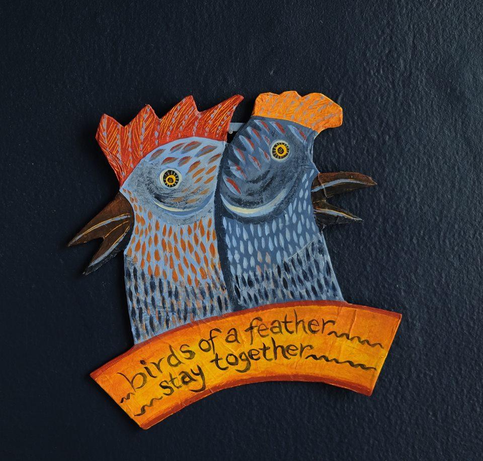 """Carol Mangiagalli   """"Birds of a Feather""""  Painted Papier-Mâché 21,5cm x 21cm R800"""