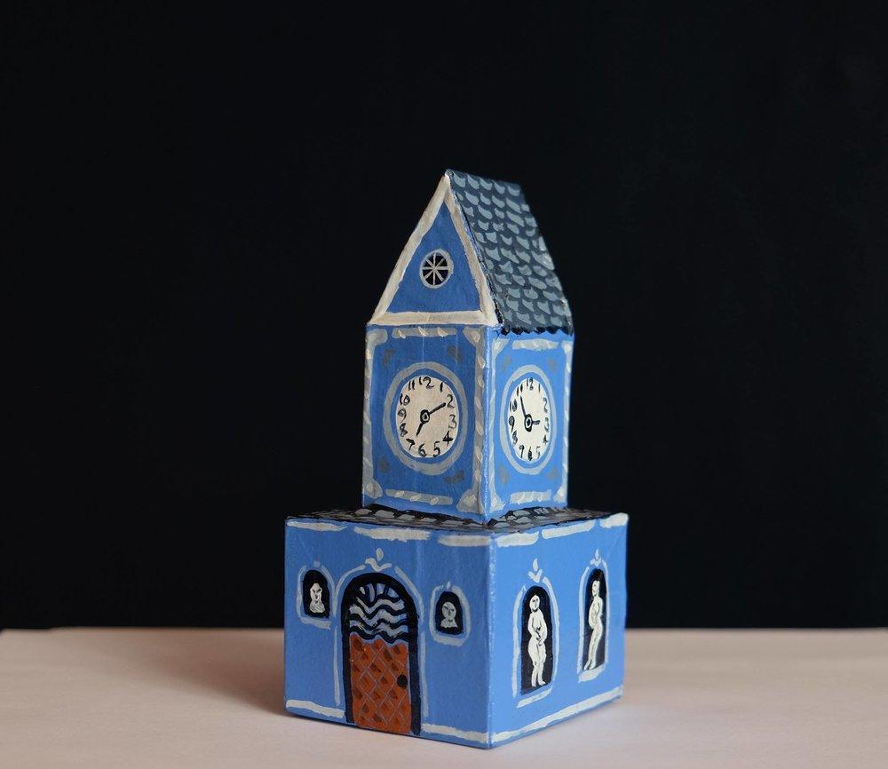 "Carol Mangiagalli    ""Clock Tower of Statues""  Painted Papier-Mâché 14cm high R640"