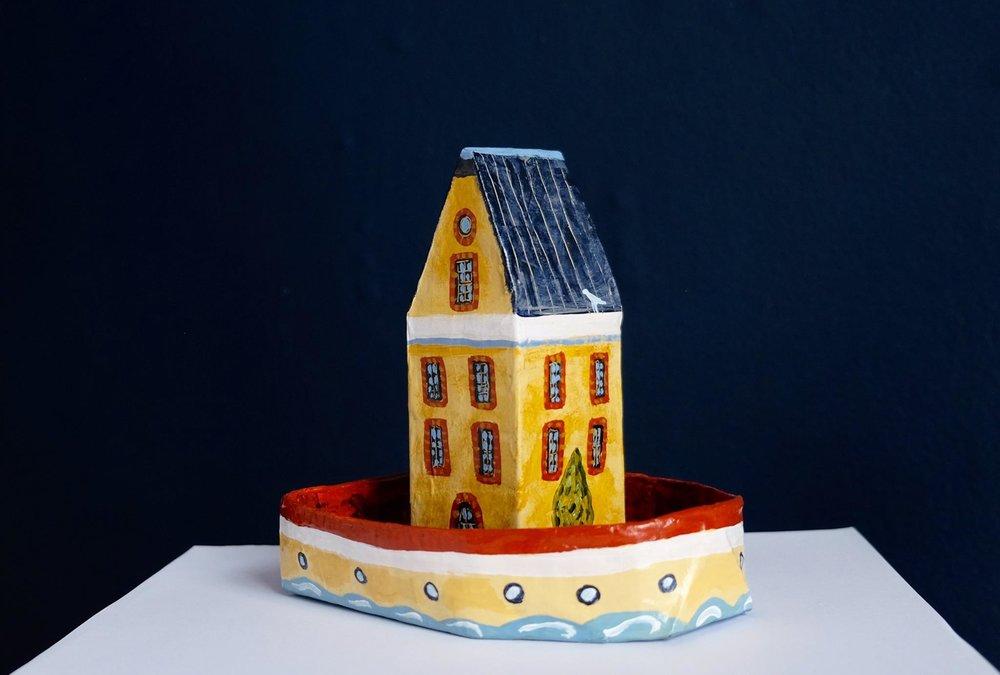 """Carol Mangiagalli    """"Houseboat""""  Painted Papier-Mâché 16cm high R850"""