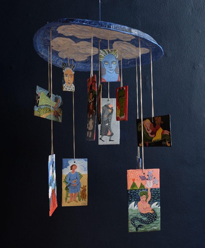 "Carol Mangiagalli   ""In The Clouds""  Painted Papier-Mâché 57cm high R2 800"