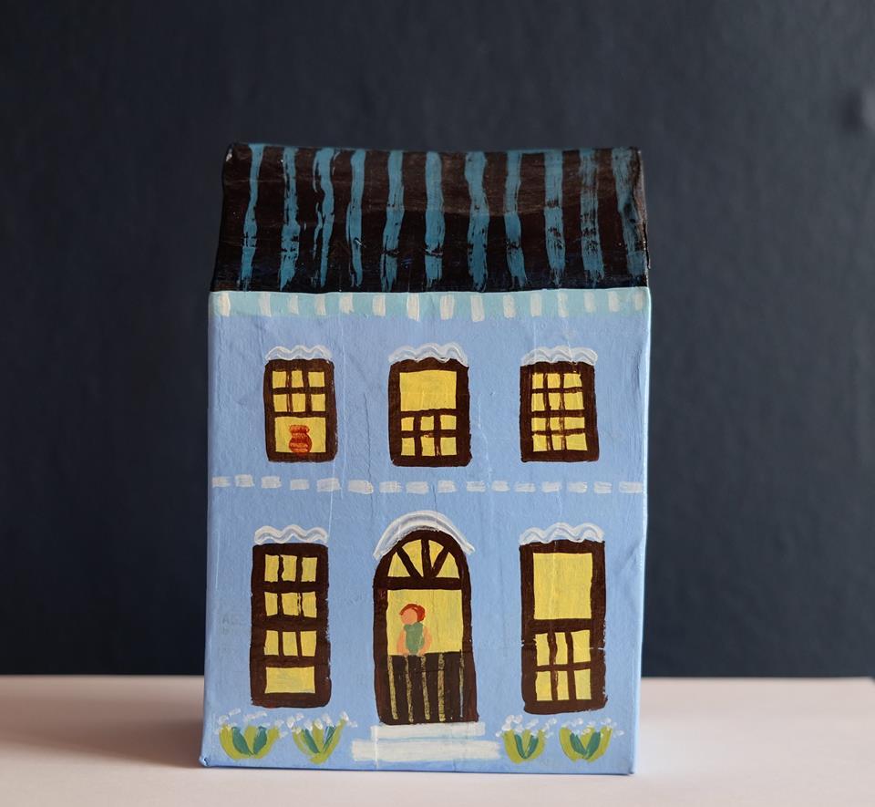 """Carol Mangiagalli   """"Lit Up House""""  Painted Papier-Mâché 16cm high R600"""