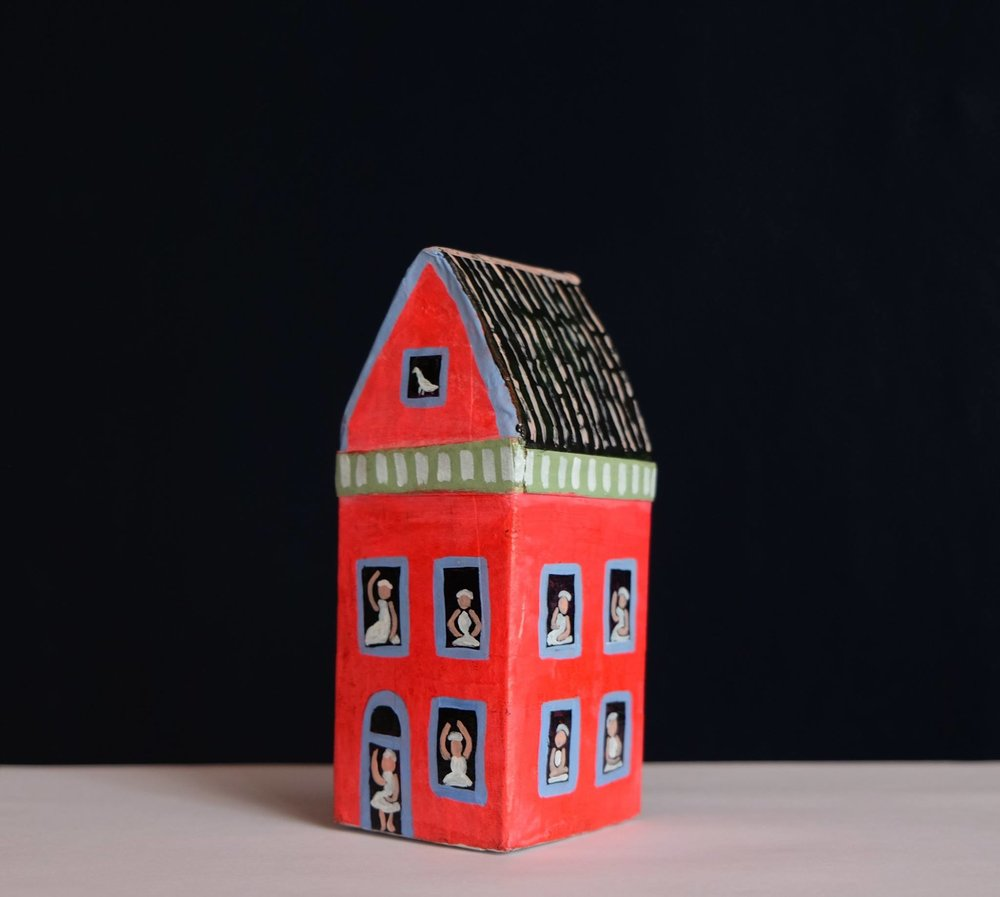 "Carol Mangiagalli  ""Red House of Ballerinas"" Painted Papier-Mâché 31,9cm high  R400"