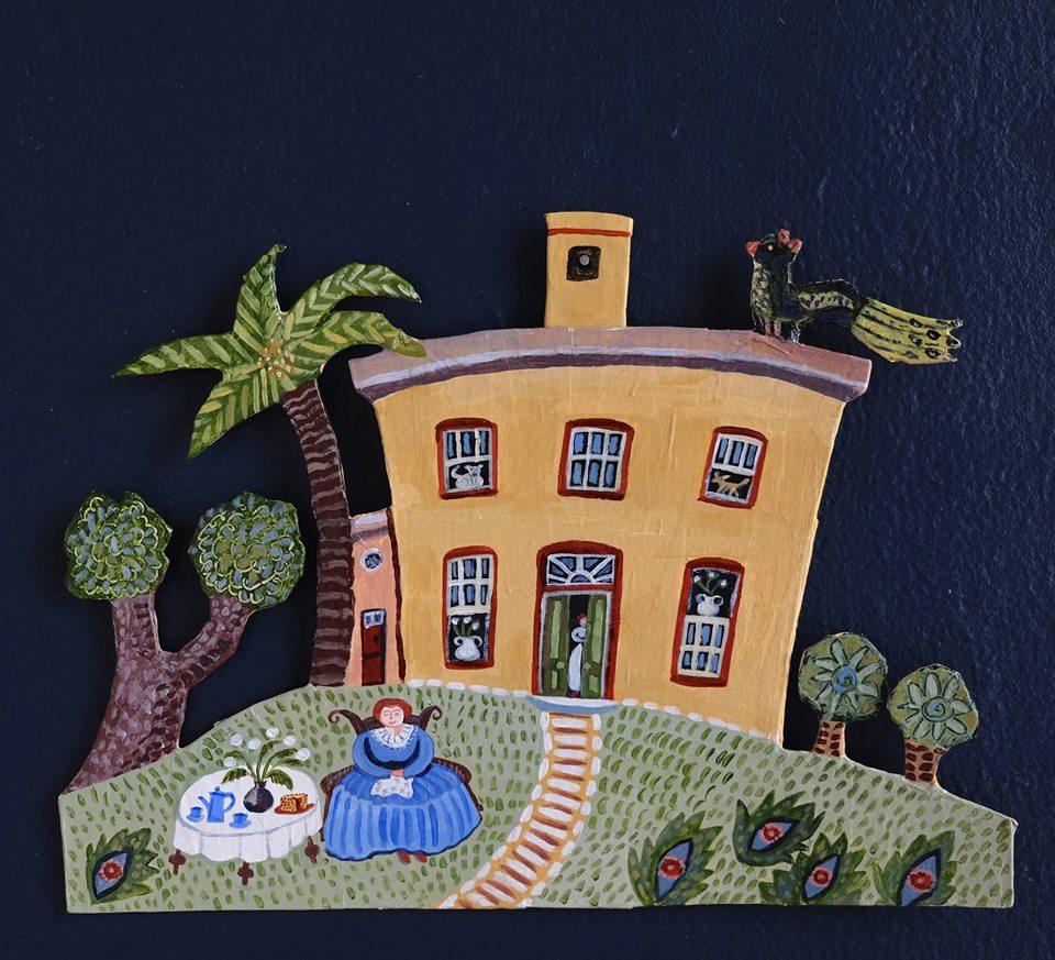 """Carol Mangiagalli   """"The Botanist's House""""  Painted Papier-Mâché 21,5cm x 30cm R1050"""