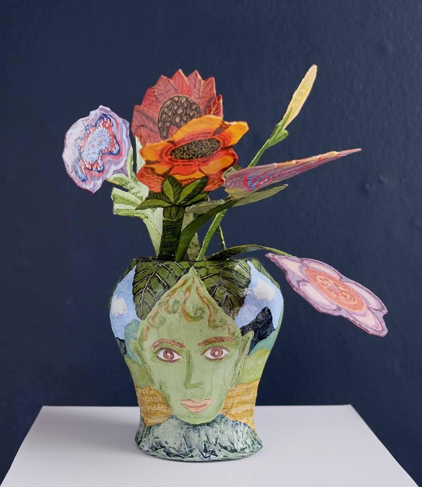 "Carol Mangiagalli   ""The Flower Heads""  Painted Papier-Mâché 30,5cm high R1 250"