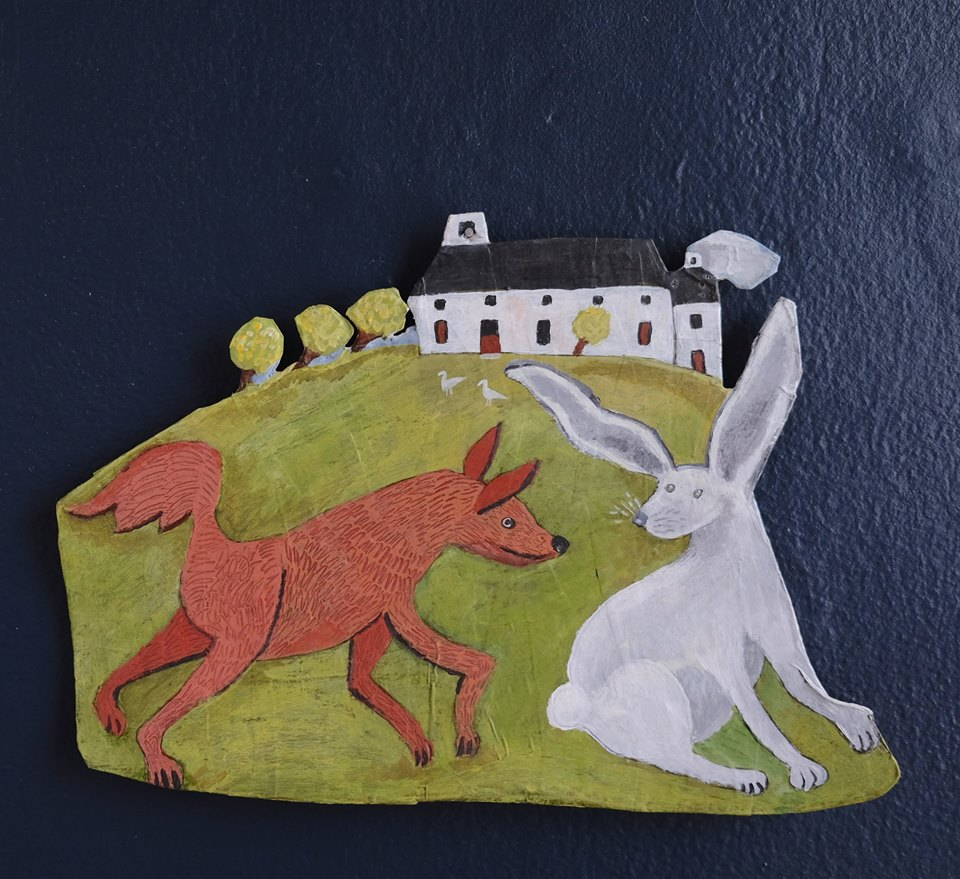 """Carol Mangiagalli   """"The Fox, the Hare and the House on the Hill""""  Painted Papier-Mâché 20cm x 28,5cm R1050"""