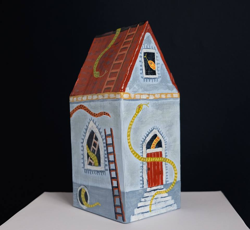 """Carol Mangiagalli    """"The House of Snakes and Ladders""""  Painted Papier-Mâché 24,5cm high R950"""