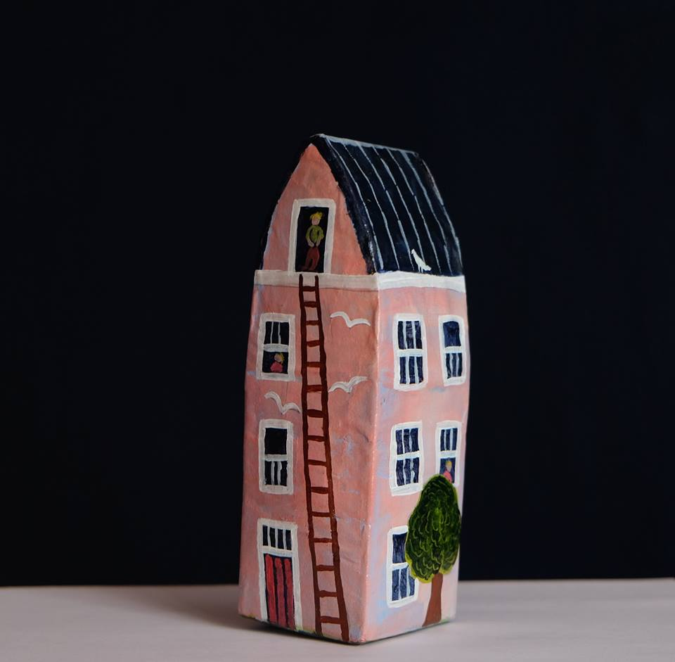 """Carol Mangiagalli    """"The Pink House with Ladder""""  Painted Papier-Mâché 16,7cm high R380"""