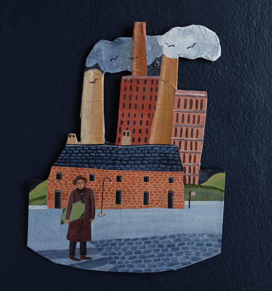 """Carol Mangiagalli   """"The World of L.S. Lowry""""  Painted Papier-Mâché 29,4cm x 23cm R1050"""