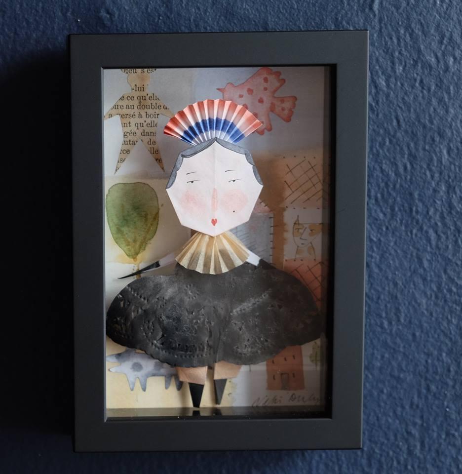 "Niki Daly   ""Countess Pifflepot""  Mixed Media: Folded Paper & Ink 11,9 x 17cm R1 250"