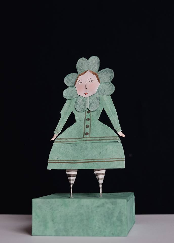 """Niki Daly   """"Miss Clover""""  Mixed Media: Folded Paper & Ink 17,8cm high R1 050"""