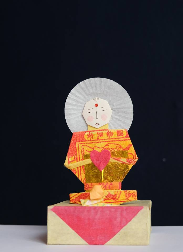 """Niki Daly   """"The Buddhist's Snail""""  Mixed Media: Folded Paper & Ink 13cm high R1 050"""