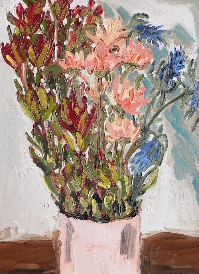 "Erin Chaplin    ""Blue Shadow""  Oil on Board  40 x 30cm  R4600"