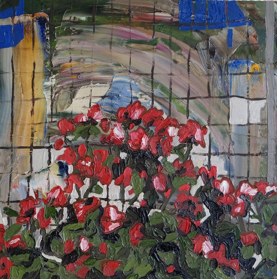 "Erin Chaplin    ""Fence""  Oil on Board  30 x 30cm  R3400"