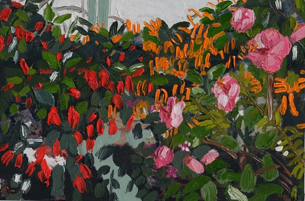 "Erin Chaplin    ""Red, Orange, Pink""  Oil on Board  20 x 30cm  R2400"