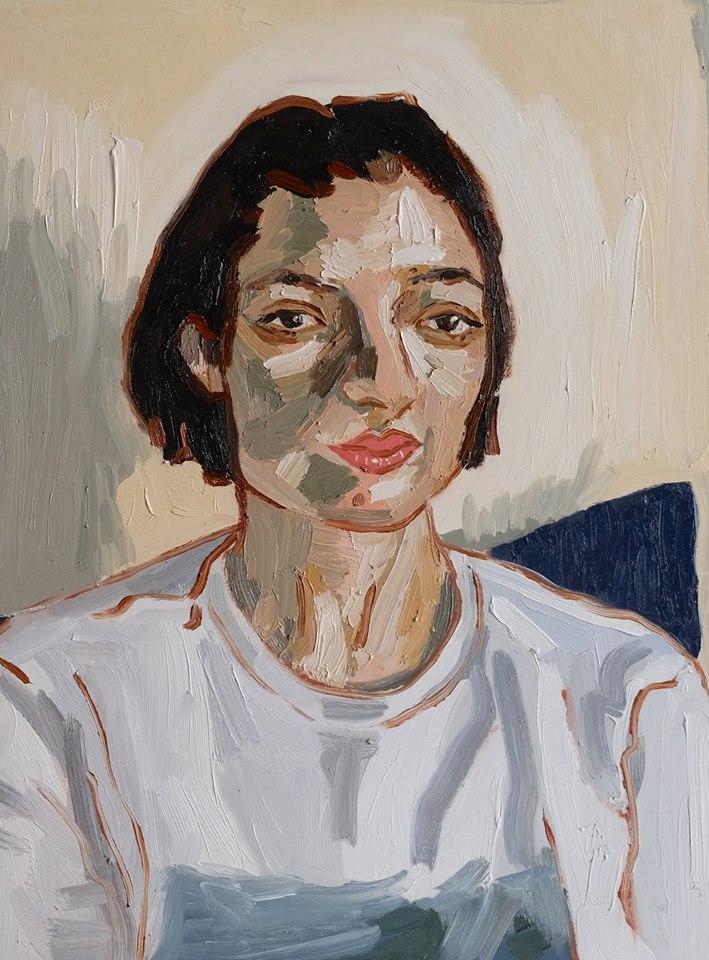 """Erin Chaplin    """"Self-Portait""""  Oil on Board  60 x 45cm  R6500"""