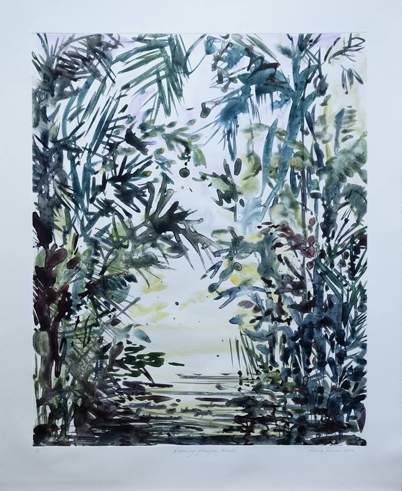 Patricia Fraser   A Passing Glimpse - Kerala  Watercolour Monotype 66 x 48cm  R7 800