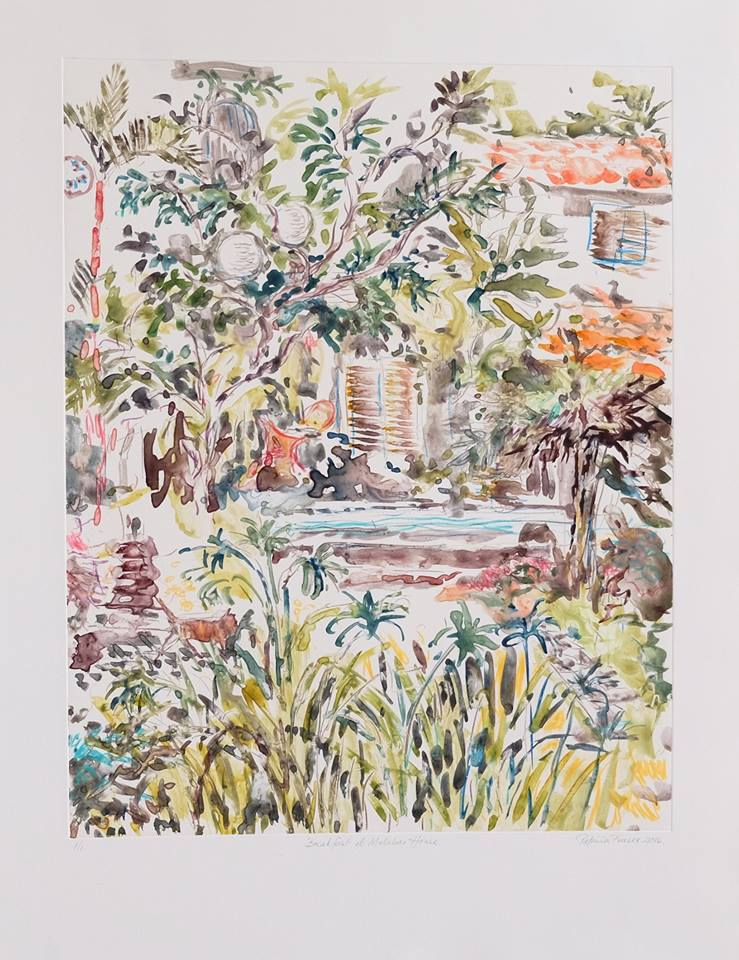 Patricia Fraser   Breakfast at Malabar House  Watercolour Monotype 56,5 x 42cm  R7 800