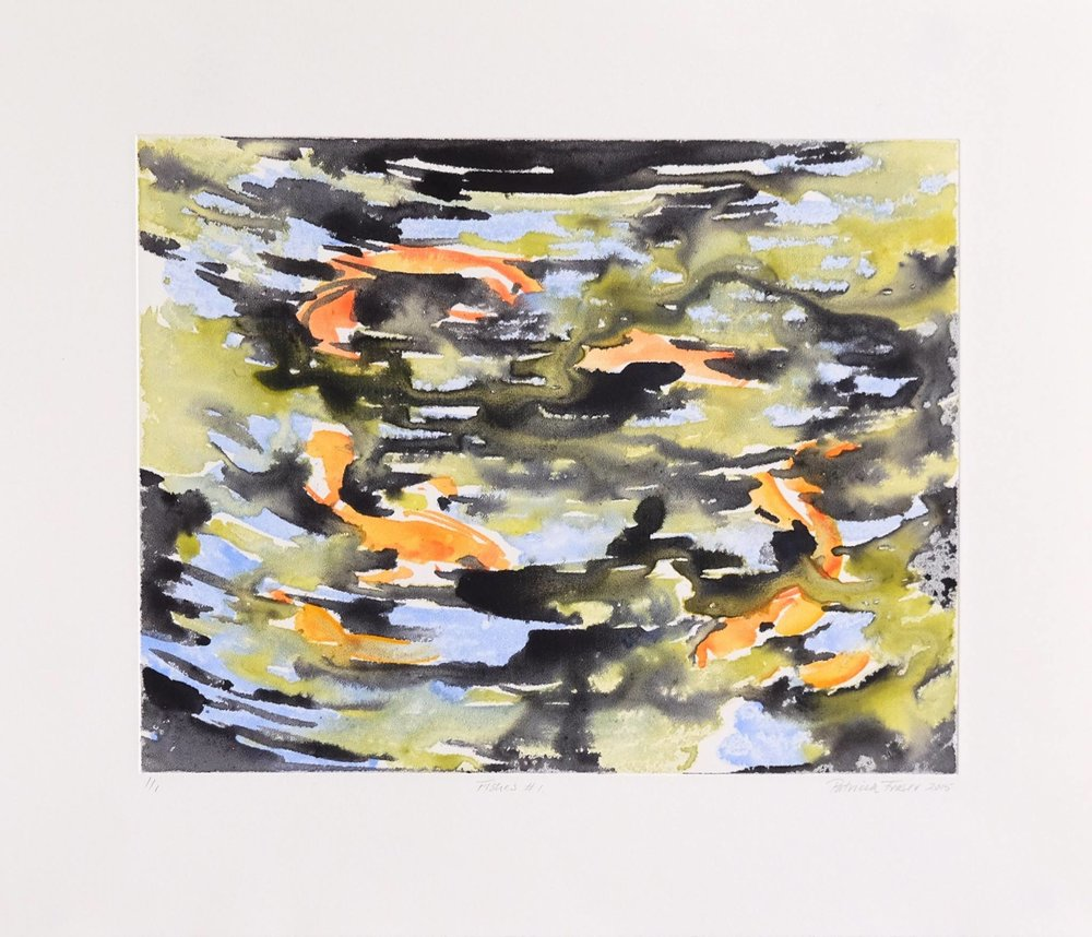 Patricia Fraser   Fishes #1  Watercolour Monotype 33,5 x 39cm  R4 800