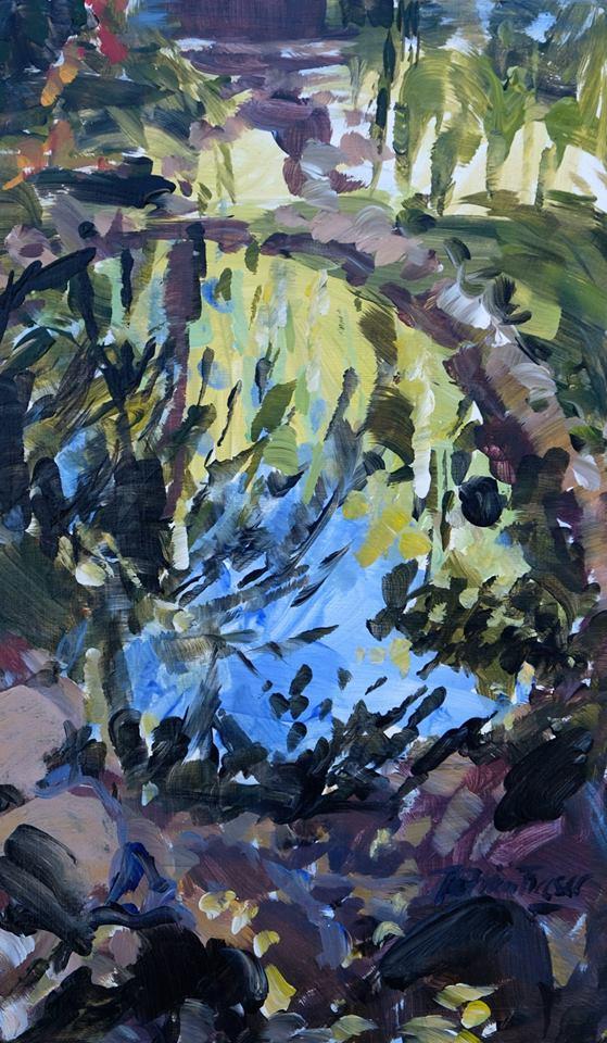 Patricia Fraser   Stellenberg Pond  Acrylic on Board 30 x 18cm  R4000