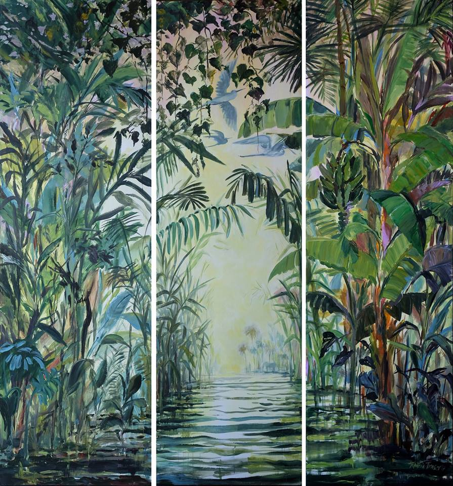 Patricia Fraser   I Have Seen You Somewhere Within My Evergreen Soul  (triptych)  Acrylic on Canvas Each Canvas Panel Measuring 220 x 60cm  R36 000