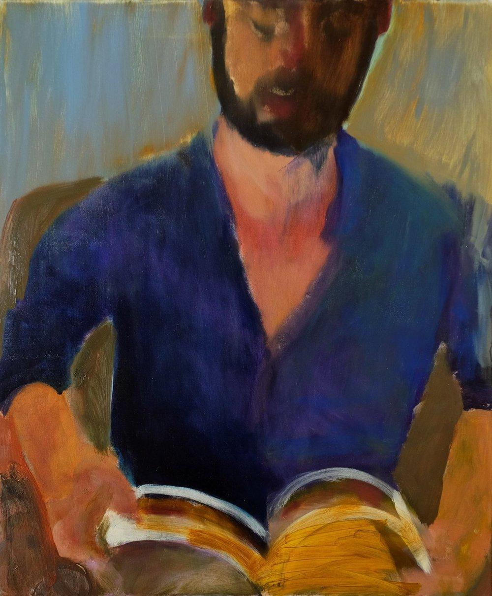 "Lara Feldman ""Michael Reading"" Oil on Canvas 60 x 50cm R8 200"