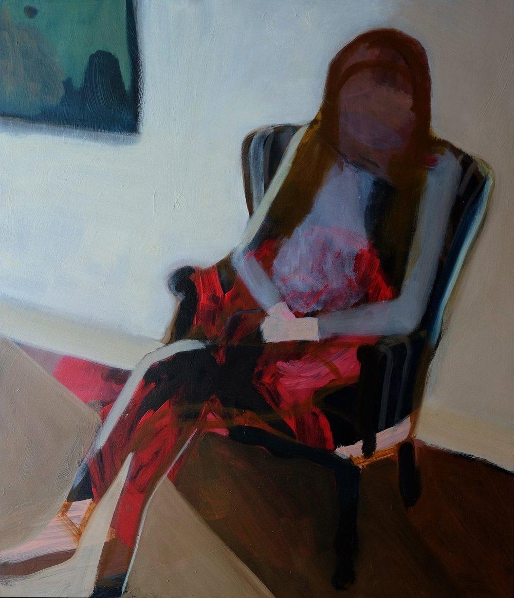 "Lara Feldman ""Studio Chair"" Oil on Canvas 72 x 62cm including frame R12 000"