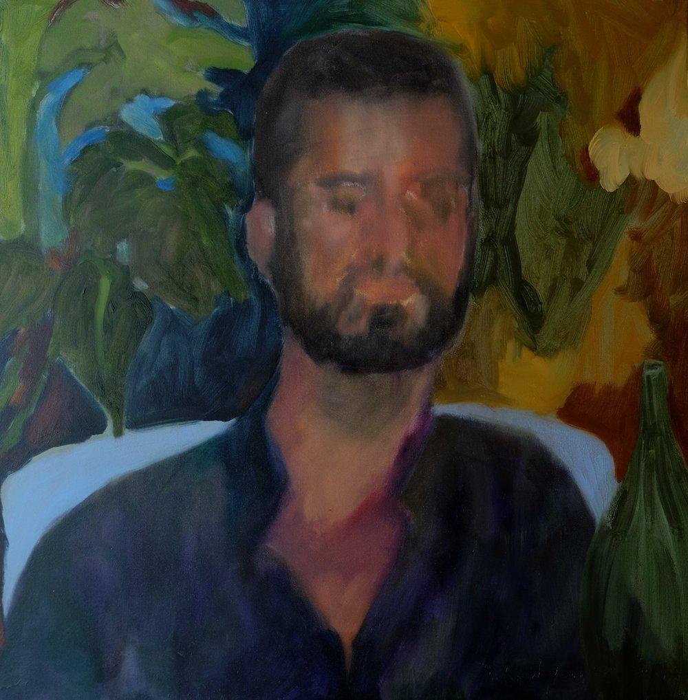 "Lara Feldman ""Bloomsbury Boy"" Oil on Canvas 60 x 60cm R10 400"